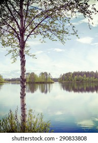 A beautiful scenery in Northern part of Finland in the summer time. Image has a vintage effect.