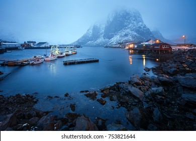 Beautiful scenery of Norwegian coastline during the short polar days