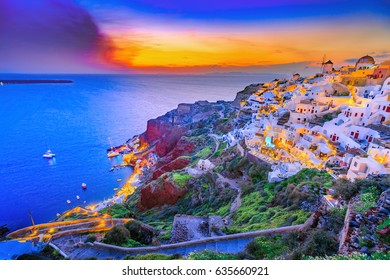 Beautiful scenery of Oia village on Santorini island in Greece, Europe. Sunset scene, artistic post-processing toning like instagram filter.