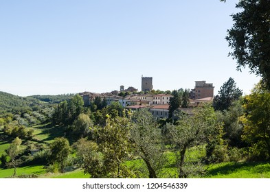 Beautiful scenery with olive trees by the Tuscan city Castellina in Chianti, Italy