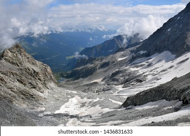 Beautiful scenery of Presena Glacier mountain ridges close to Passo del Tonale mountain pass in northern Italy between Lombardy and Trentino in the background, exploring high altitude hiking in summer