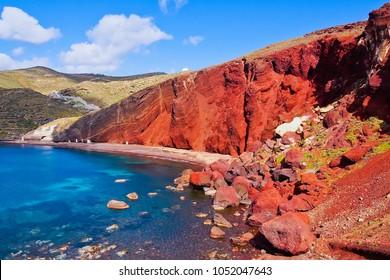 Beautiful scenery of red sand beach in akrotiri village Santorini greece