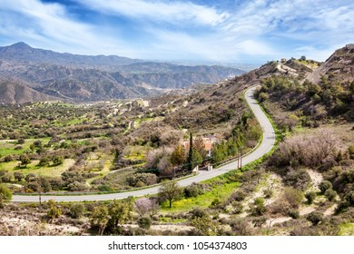 Beautiful scenery, a road in the mountains in Cyprus