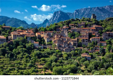 Beautiful scenery of the Saint Chinian wine district near the village of Vieussan, Herault, France
