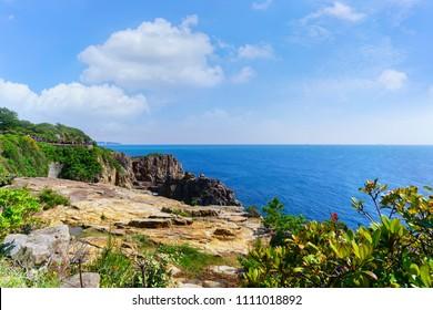 Beautiful scenery at Sandambeki Rock Cliff in Yoshino -kumano national park , Shirahama , Japan