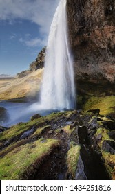 Beautiful scenery of Seljalandsfoss waterfall in Iceland. Seljalandsfoss is the famous natural landmark and tourist destination place of Iceland. Travel and natural Concept.