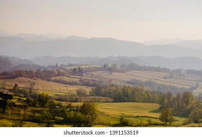 beautiful scenery of the Serbian village in autumn