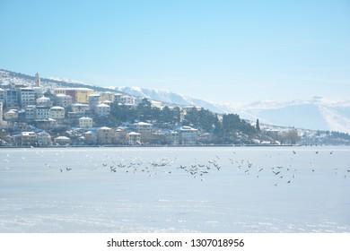 Beautiful scenery with snowy town of Kastoria  and lake Orestiada in Greece