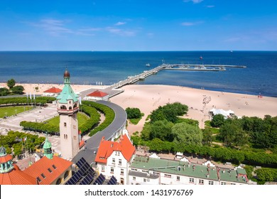 Beautiful scenery of Sopot at Baltic sea with the wooden pier, Poland
