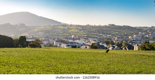 Beautiful scenery of spanish town Navia, Asturias, Spain. view from Camino Norte - Camino de Santiago, Spain.