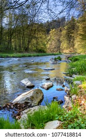 Beautiful scenery of spring landscape with river and forest. Oslava river, Czech Republic, Europe - Shutterstock ID 1077418814