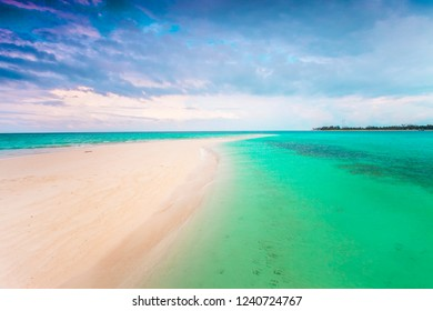 beautiful scenery with a stretch of white sand in the middle of the sea of Derawan Island, East Kalimantan Indonesia