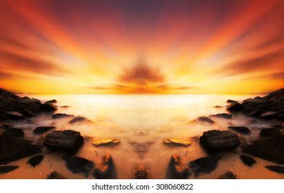 Beautiful scenery of sunset beach in Borneo. Image have soft color effect for fantasy look.Warmer color of sunset.