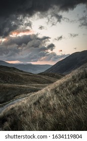A beautiful scenery of the sunset in the lake district over Ullswater