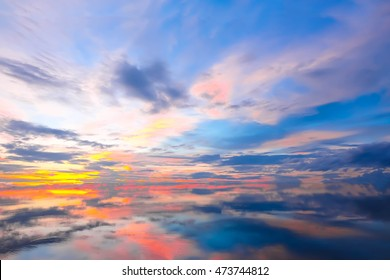 Beautiful scenery sunset sky view of lake and reflection in water.