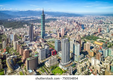 Beautiful scenery of Taipei City with lardge modern builings and skyscrapers   Taipei 101 in Xinyi District, Taipei, Taiwan