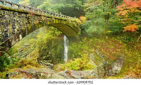 Beautiful scenery of Takachiho gorge after raining with light fog, Miyazaki, Japan