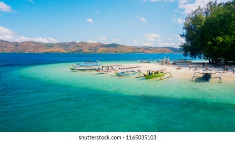 Beautiful scenery of tourist boats moored on the Gili Rengit island. Shot in the Lombok, Indonesia