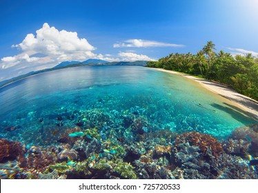 Beautiful scenery of a tropical beach and a coral reef on an island with a floating woman.