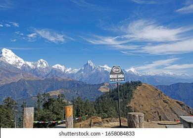 beautiful scenery view of fishtail mountain and annapurna range From Mohare Danda Nepal