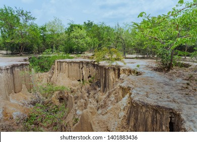 Beautiful Scenery of Water flows through the ground have erosion and collapse of the soil  into a  natural layer at Pong Yub,  Ratchaburi,Thailand