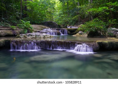 Beautiful scenery waterfall in the tropical forest.