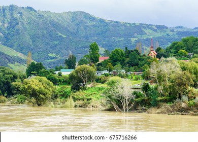 Beautiful scenery of Whanganui river road viewing old native village of Jerusalem (Hiruharama) , Whanganui , North Island of New Zealand