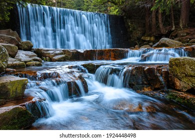 Beautiful scenery of the Wild Waterfall on the ?omnica river, Karpacz. Poland