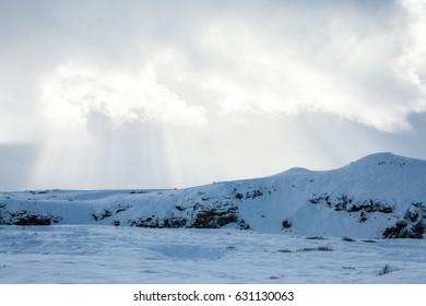 Beautiful scenery in winter snow Iceland
