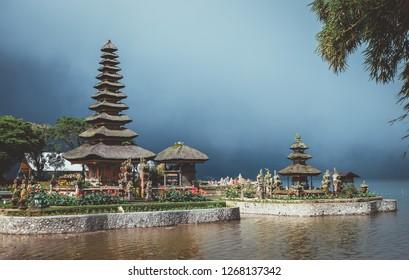 Beautiful scenery of world famous Pura Ulun Danu Bratan temple of paradise island Bali, Indonesia