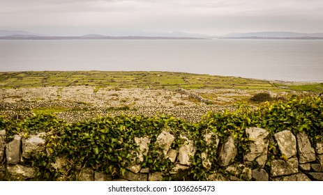 Beautiful scenes of Inis Mor in the Aran Islands, Ireland. Taken on a cloudy day showing the grassy fields, dry stone walls and views of the Wild Atlantic Way