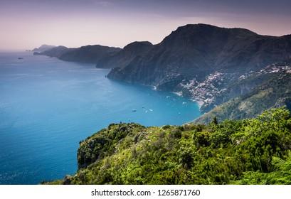 "Beautiful scenic aerial panorama view of Amalfi coast (costiera amalfitana) and Positano from famous ""Path of gods"" (Sentiero degli dei) hiking trail, nobody, no people"