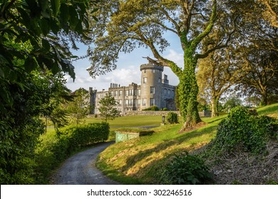 beautiful scenic ancient castle in county clare ireland. dromoland castle ireland. dromoland is a castle hotel and golf course. set in lovely forest landscape. world and european 5 star hotel.