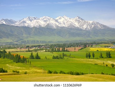 The beautiful scenic in Bishkek city with the Tian Shan mountains of Kyrgyzstan