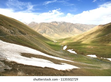The  beautiful scenic from Bishkek  to Naryn with the Tian Shan mountains of Kyrgyzstan
