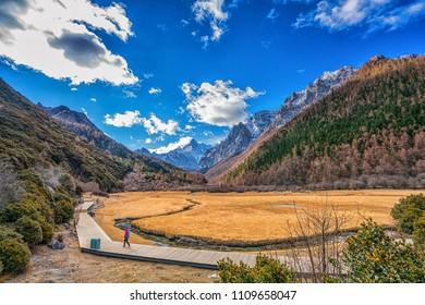 Beautiful Scenic of Chonggu Grassland,  Yading Natural Reserve, Daocheng , Sichuan - China