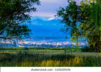 The beautiful scenic city with the Tian Shan mountains of Kyrgyzstan