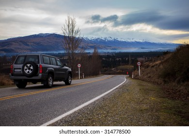 beautiful scenic of country road in south island new zealand