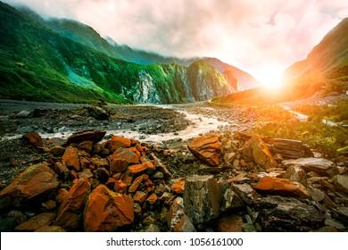 beautiful scenic of fox glacier west coast southland new zealand