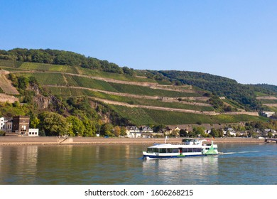 Beautiful scenic German landscape of village and tiered vineyard along the Rhine River with river cruise ship in view.
