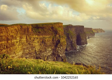 beautiful scenic irish countryside landscape from the cliffs of