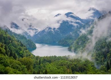 Beautiful and scenic Lake Ritsa with fog, Abkhazia