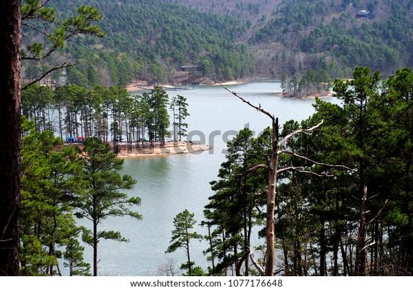 Beautiful Scenic Lake View From Mountain Trail on Lake Ouachita Arkansas