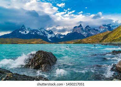 Beautiful scenic landscape at Lake Pehoe and Cuernos del Paine Mountains in the evening at Torres del Paine National Park in Chile