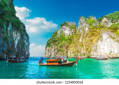 Beautiful scenic landscape of Pileh lagoon with boat for traveler, Phi Phi Leh island Krabi, Famous landmark travel Phuket Thailand, Tourist on summer vacation trips, Tourism destination scenery Asia