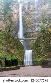 Beautiful Scenic Multnomah Falls in the Columbia River Gorge in the Pacific Northwest.