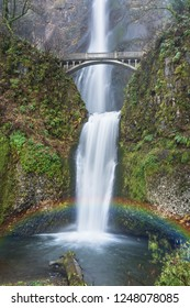 Beautiful Scenic Multnomah Falls and Rainbow in the Columbia River Gorge in the Pacific Northwest.