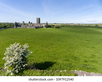 Beautiful scenic old ruins of Clare Abbey in County Clare, Ireland. Irish rural countryside with old Irish religious Abbey in decay.