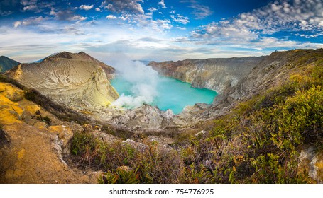Beautiful scenic picture of Kawah Ijen volcanic mountain located in Surabaya Island of Indonesia.