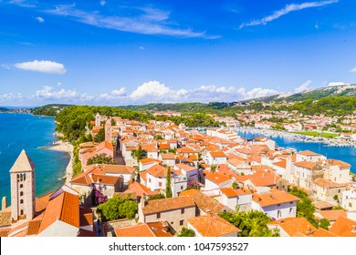 Beautiful scenic picture of rab siland city from croatia.